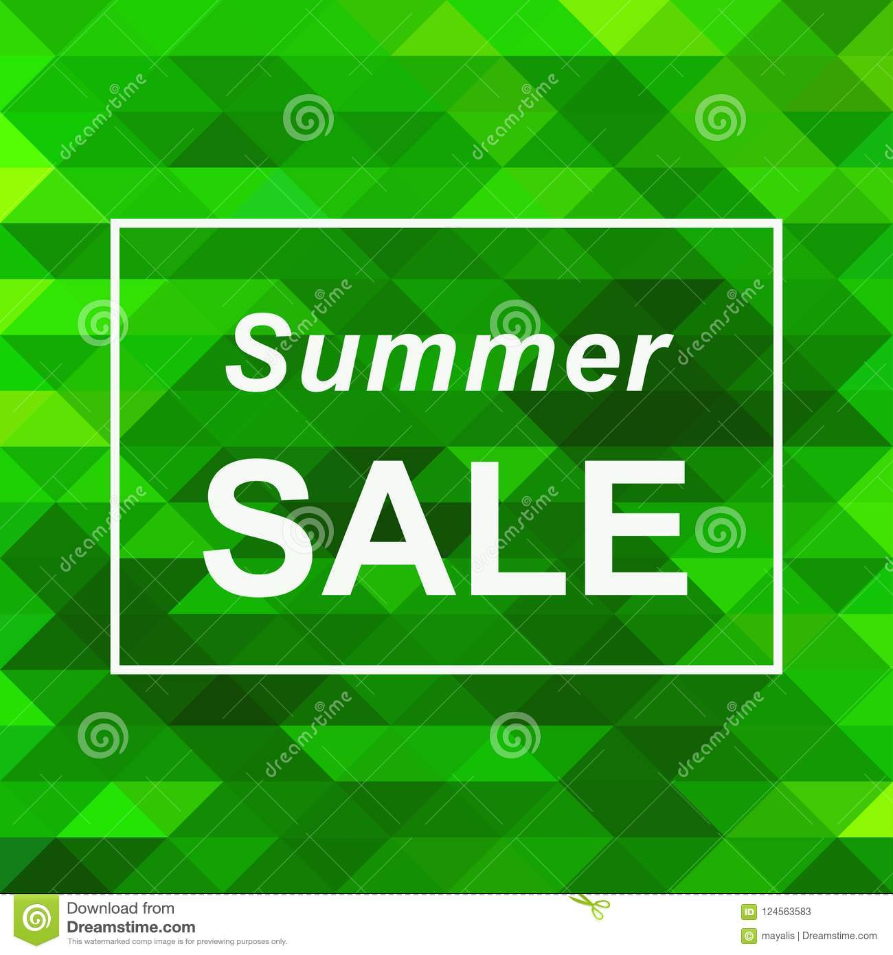 summer sale banner on abstract green triangle background vector
