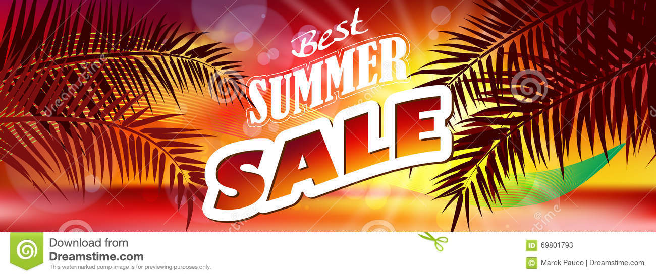 Summer Sale Banner Background Stock Vector - Image: 69801793