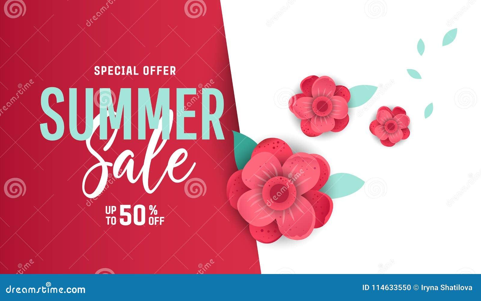 Trendy Poster Designs: Bright Summer Sale Banner, Poster In Trendy Design Stock