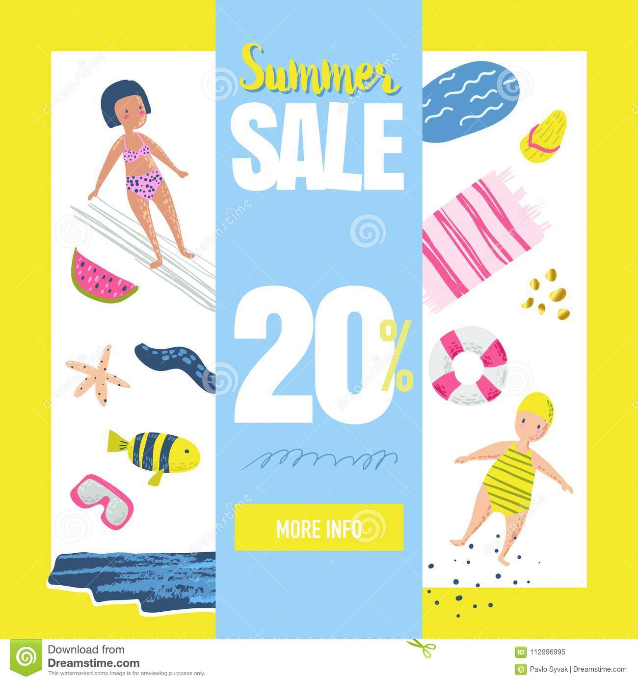 summer sale banner with beach elements discount poster template