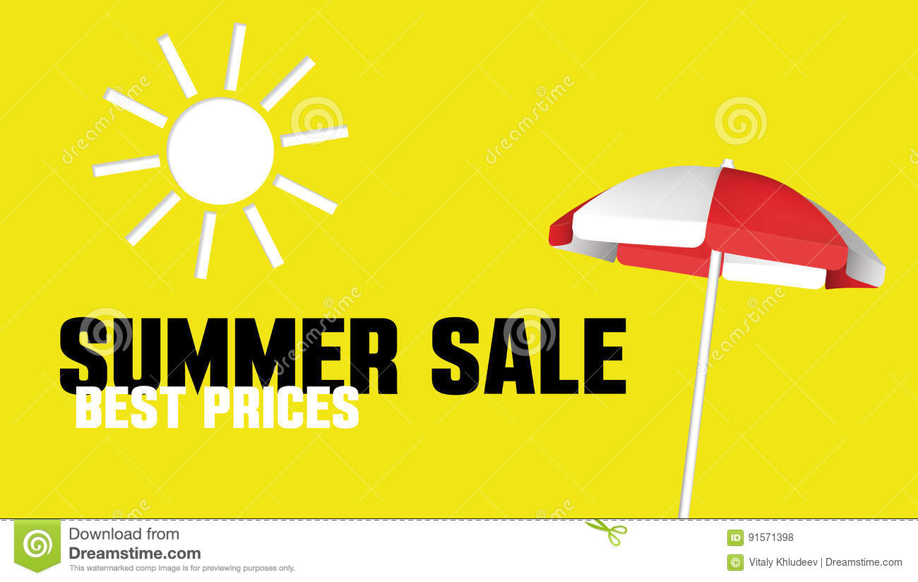 Summer Sale Banner With A Beach Umbrella. Vector Design ...