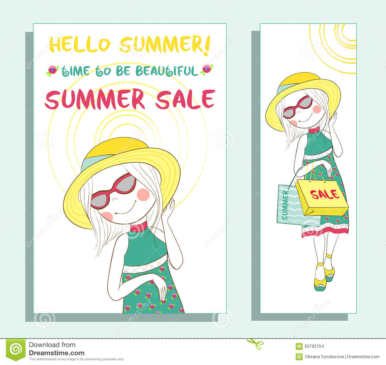 summer banner cute girl stock vector image  summer banner cute girl