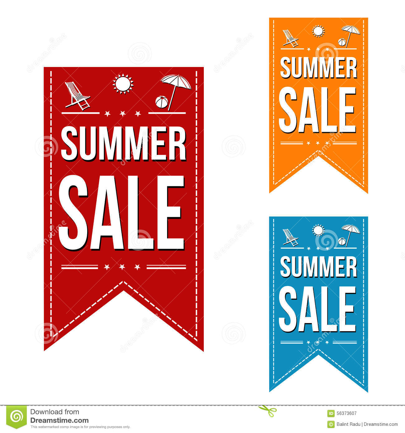 Summer Sale Banner Design Set Stock Vector - Illustration ...