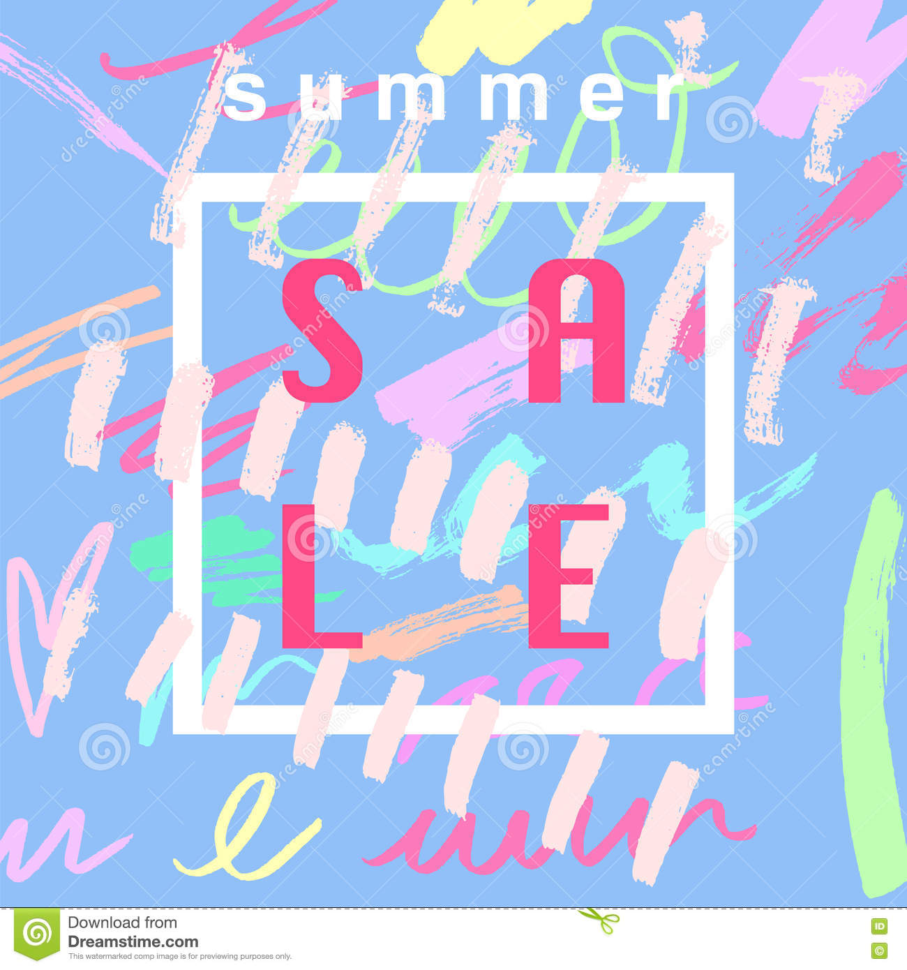 Summer Sale Banner Design Template Cartoon Vector ...