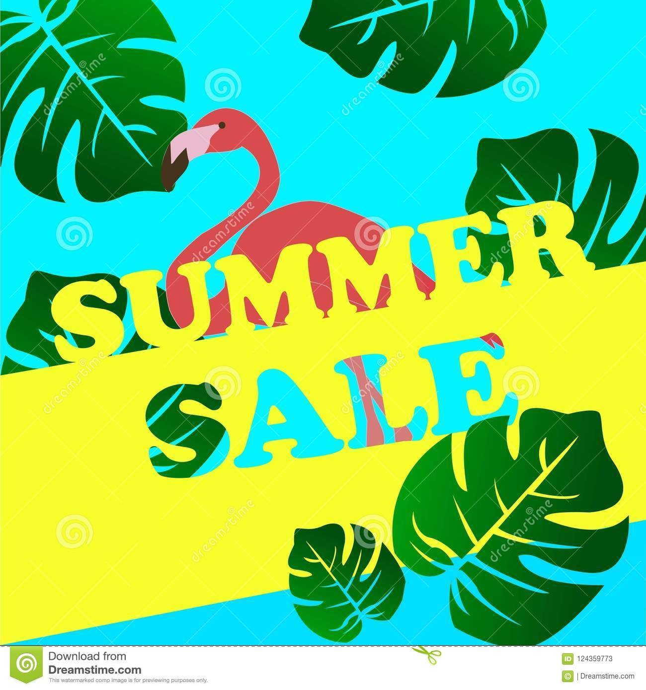 Summer sale banner with flamingo and tropical leaves background