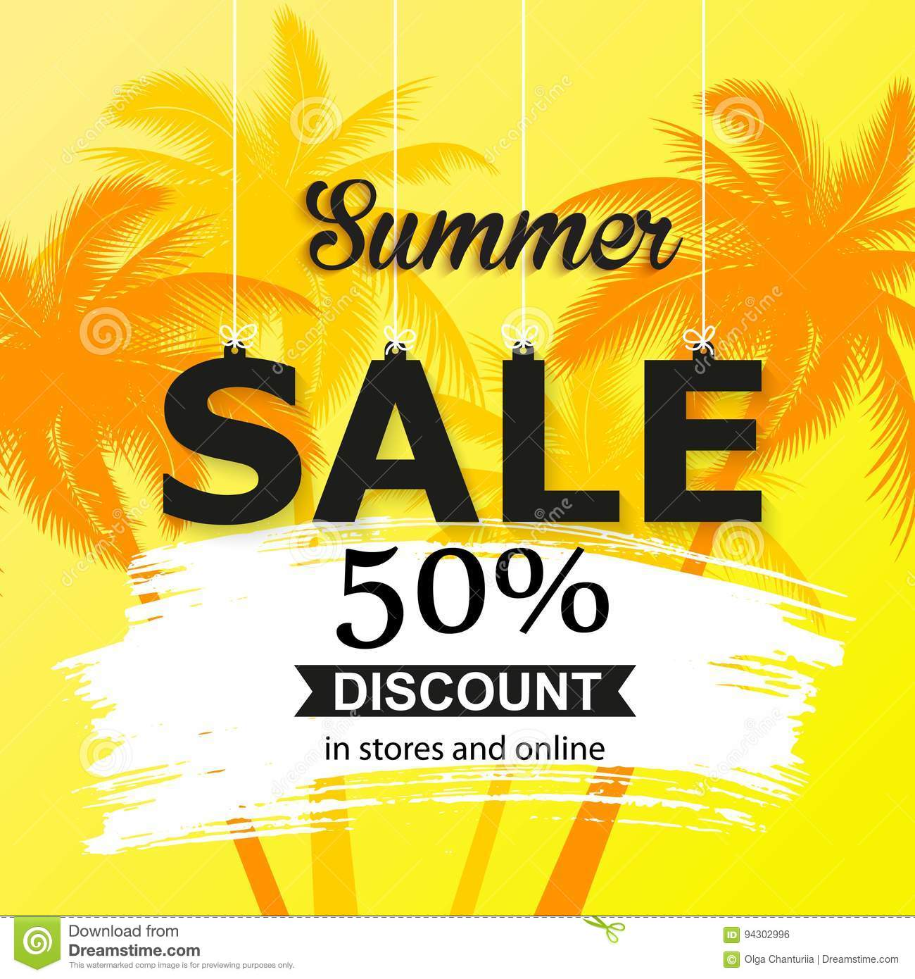 Summer Sale Banner With Palm Leaves Bright Color Wallpaper Flyer Brochure Or Voucher Discount