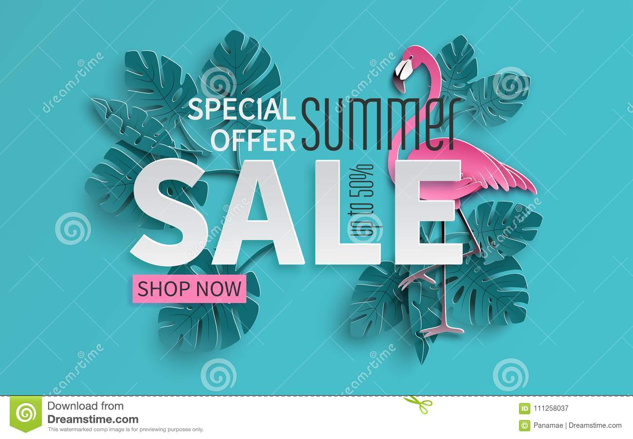 Summer sale banner with paper cut flamingo and tropical leaves background, exotic floral design for banner, flyer, poster