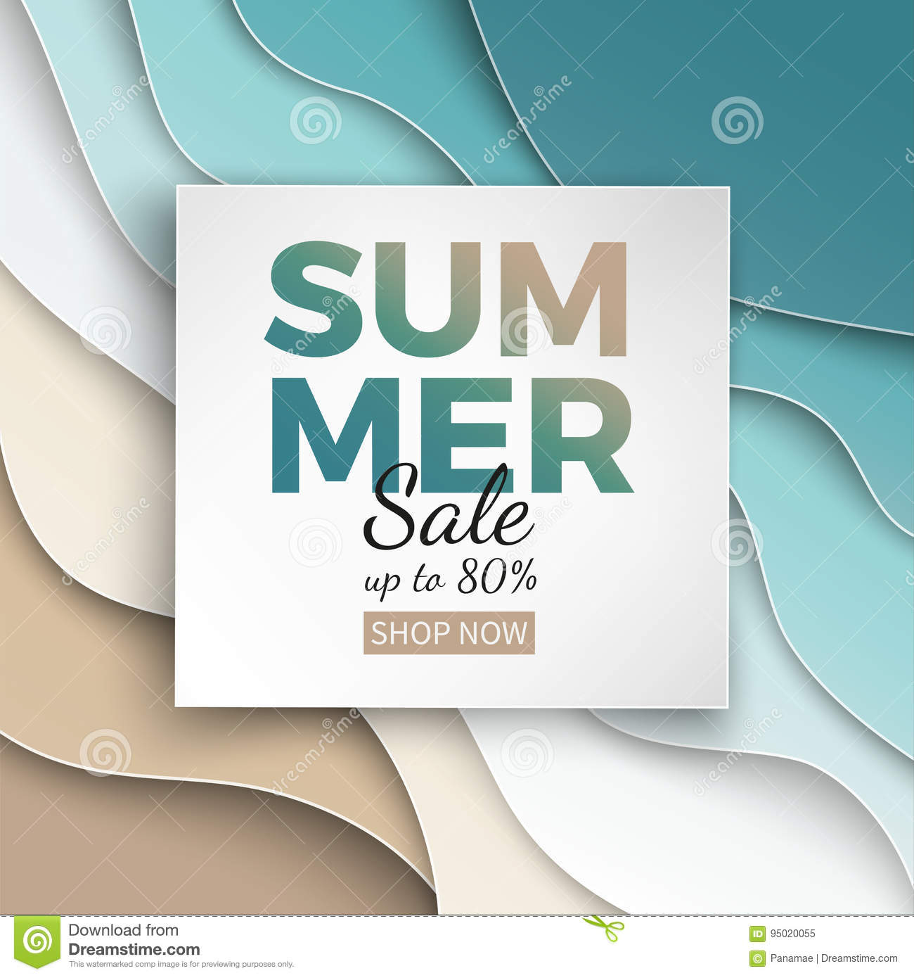 Summer sale banner with paper cut frame on blue sea and beach summer background with curve paper waves and seacoast for design