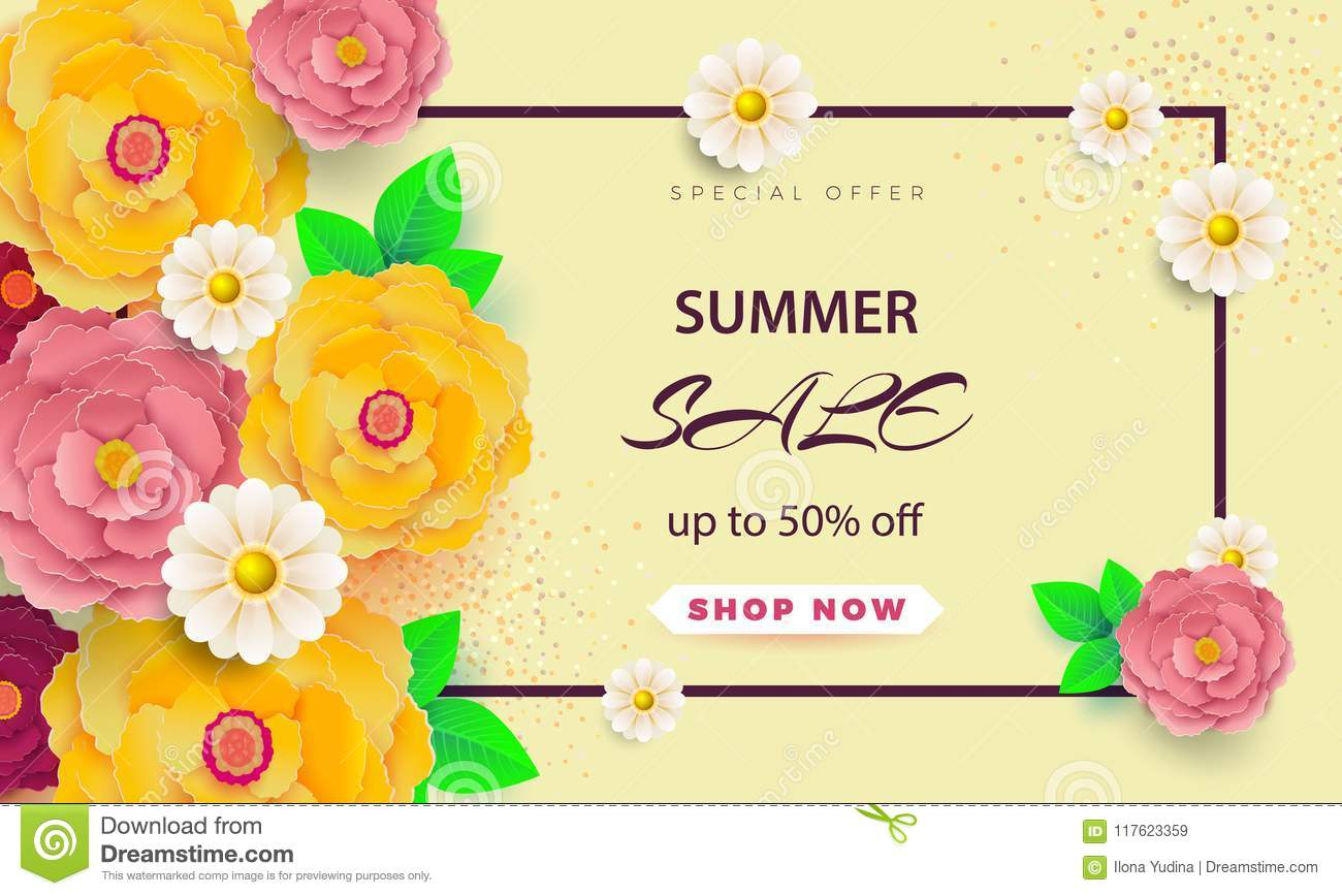 Summer Sale Banner With Paper Flowers On A Light Background The