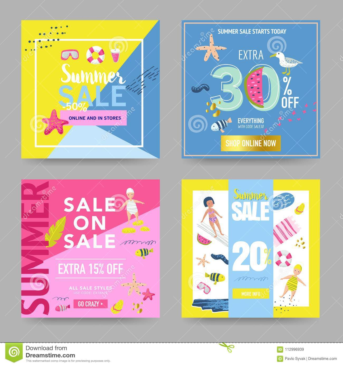 summer sale banner set with beach elements discount poster