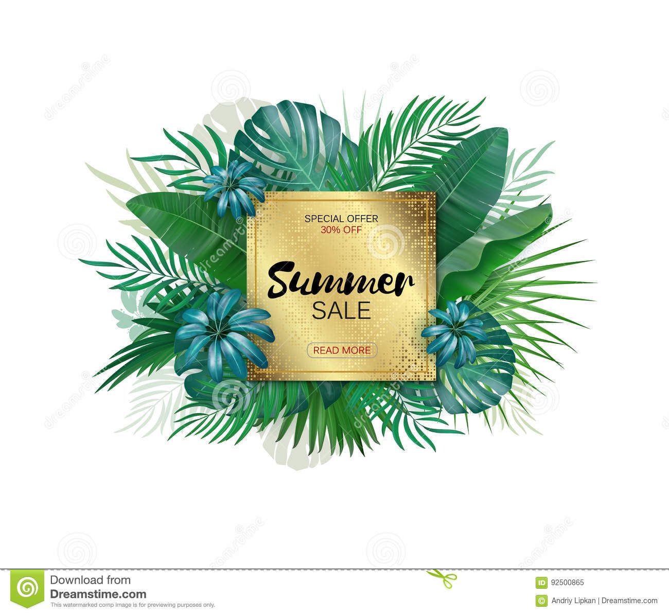 Summer Sale Banner Summer Sale Poster Design For Print Or Web Vector Discount Banner Tropical