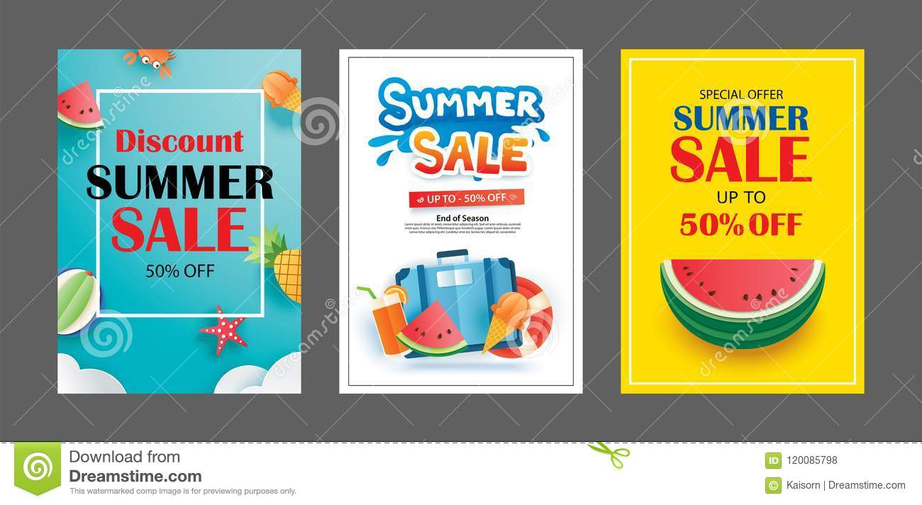 Summer Sale Banner Templates Paper Art And Craft Style Vector