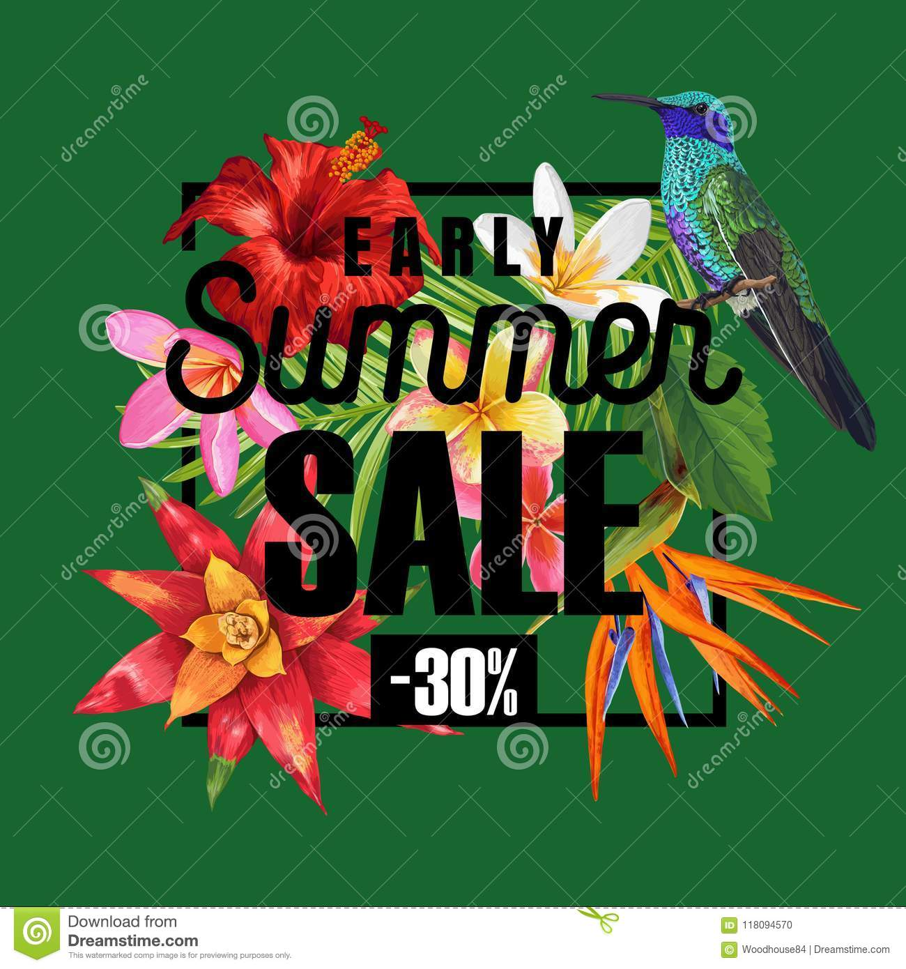 Summer sale banner with tropical hibiscus flowers and humming birds summer sale banner with tropical hibiscus flowers and humming birds floral template for promo discount flyer voucher advertising vector illustration izmirmasajfo