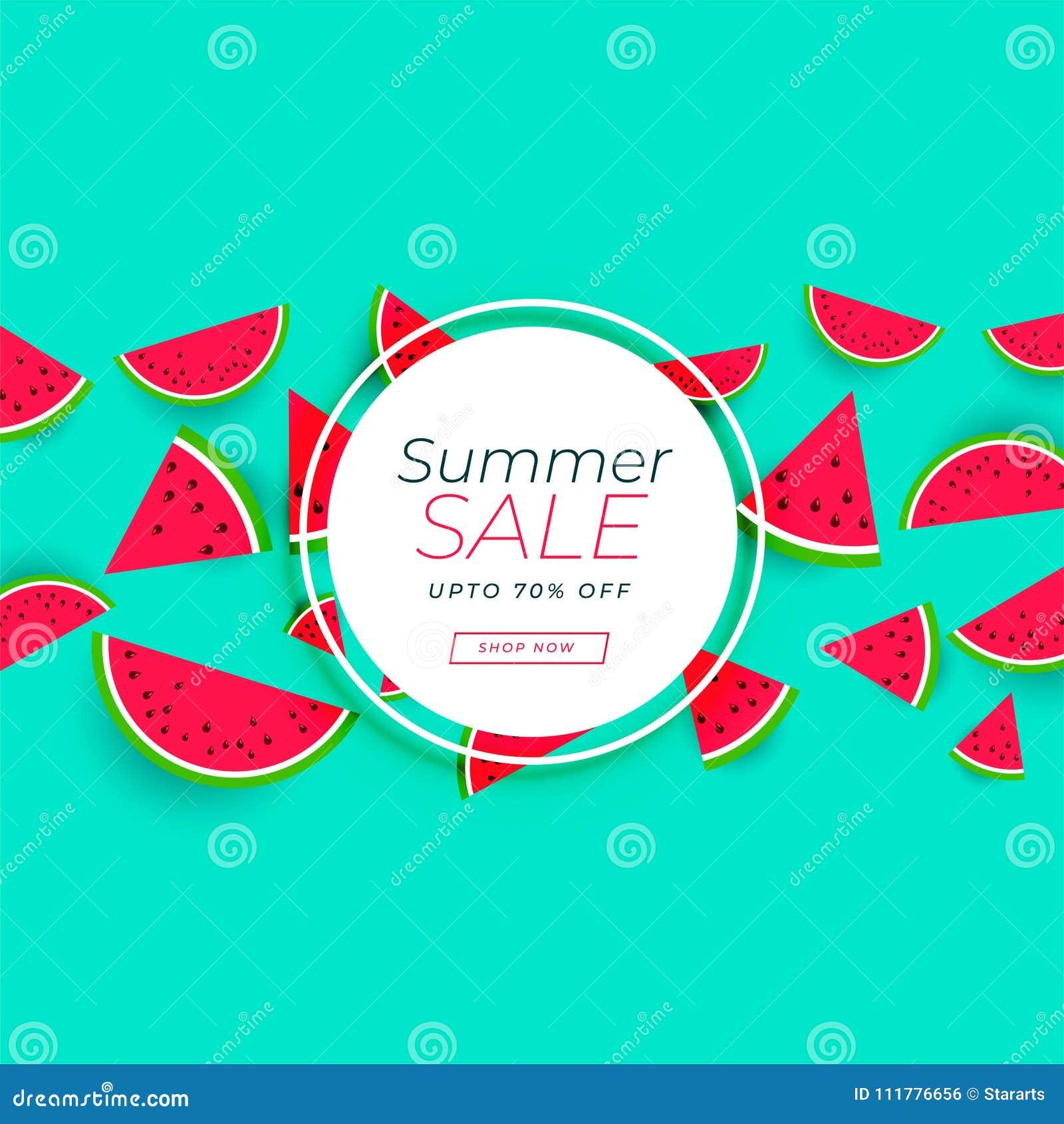 Summer sale banner with watermelon background