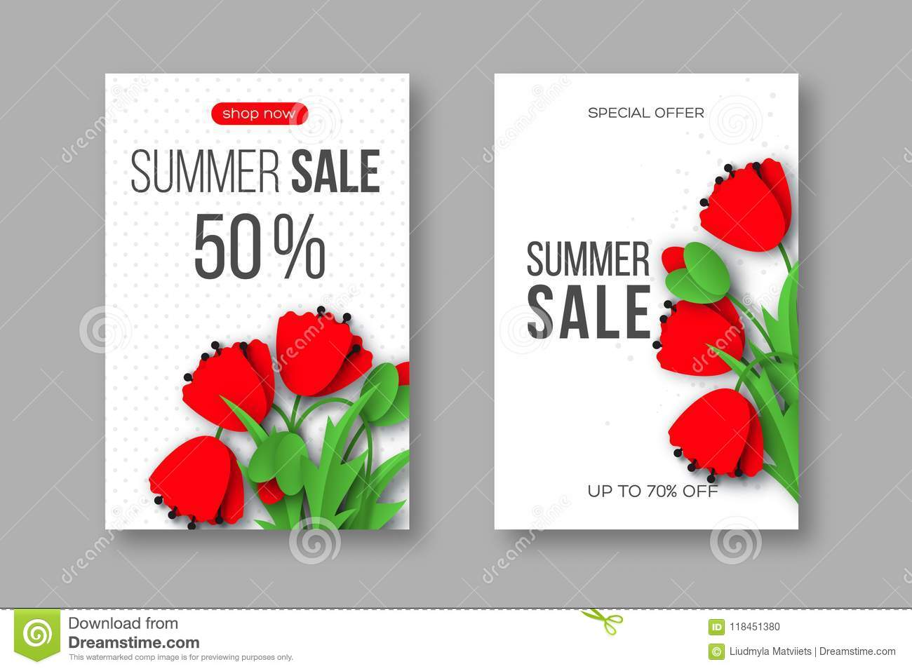Summer sale banners with paper cut red poppy flowers and dotted download summer sale banners with paper cut red poppy flowers and dotted pattern white background mightylinksfo