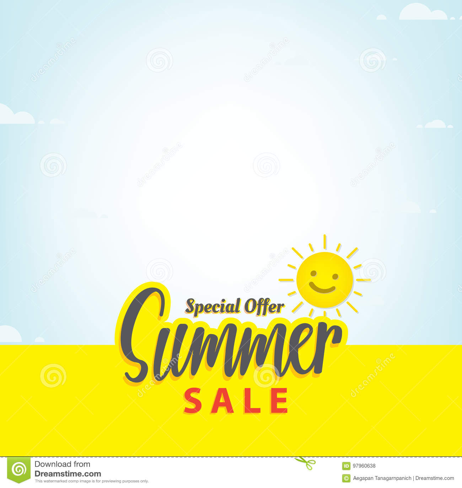 Download Summer Sale Blank Frame Heading Design For Banner Or Poster Sal Stock Vector