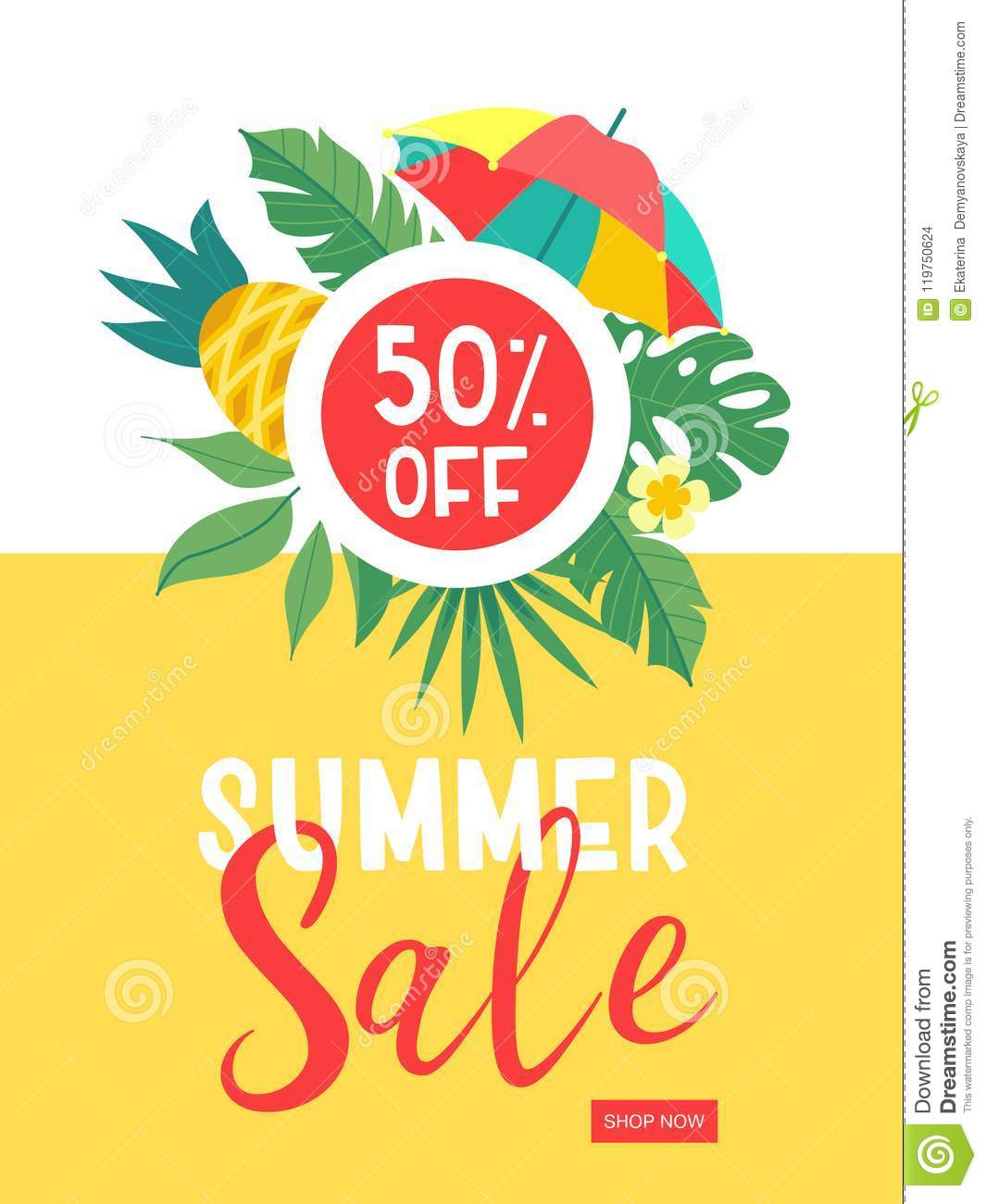 Summer sale. Bright colorful advertising poster. Colorful umbrella, tropical leaves and fruit. Illustration in cartoon style.