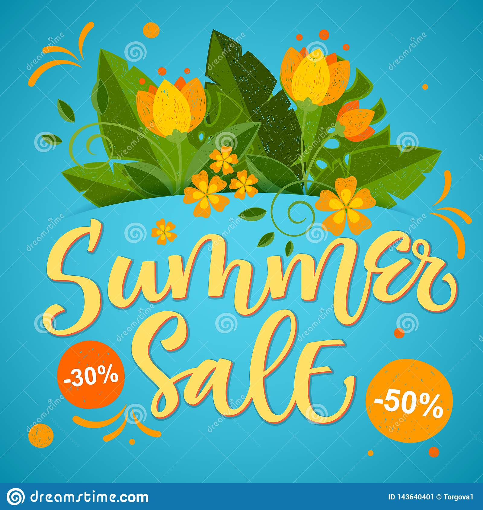 Summer Sale - calligraphy bright colorful design with floral elements
