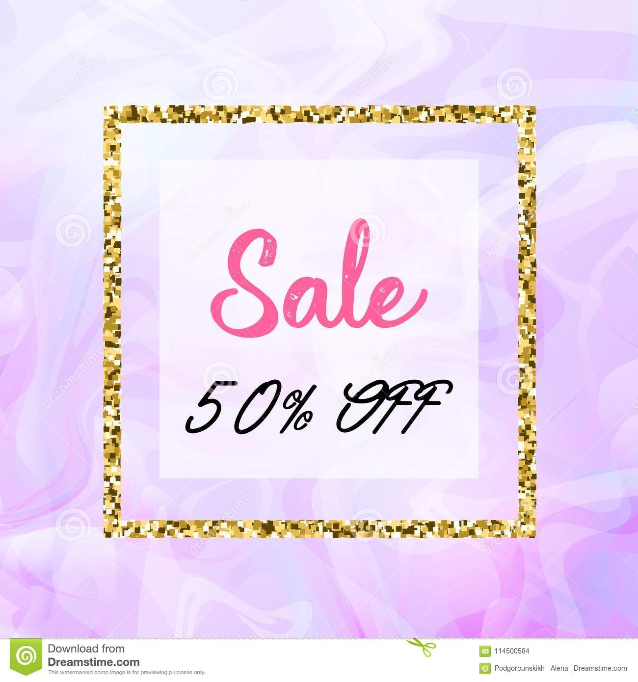 Summer Sale Design For Banner Poster With Marble Texture And Gold Detail Clearance Sale Square Pink And Gold Banner Stock Vector Illustration Of Decoration Invitation 114500584
