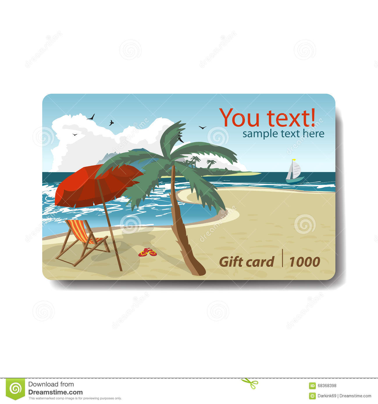 Summer Sale Discount Gift Card Branding Design For Travel Stock