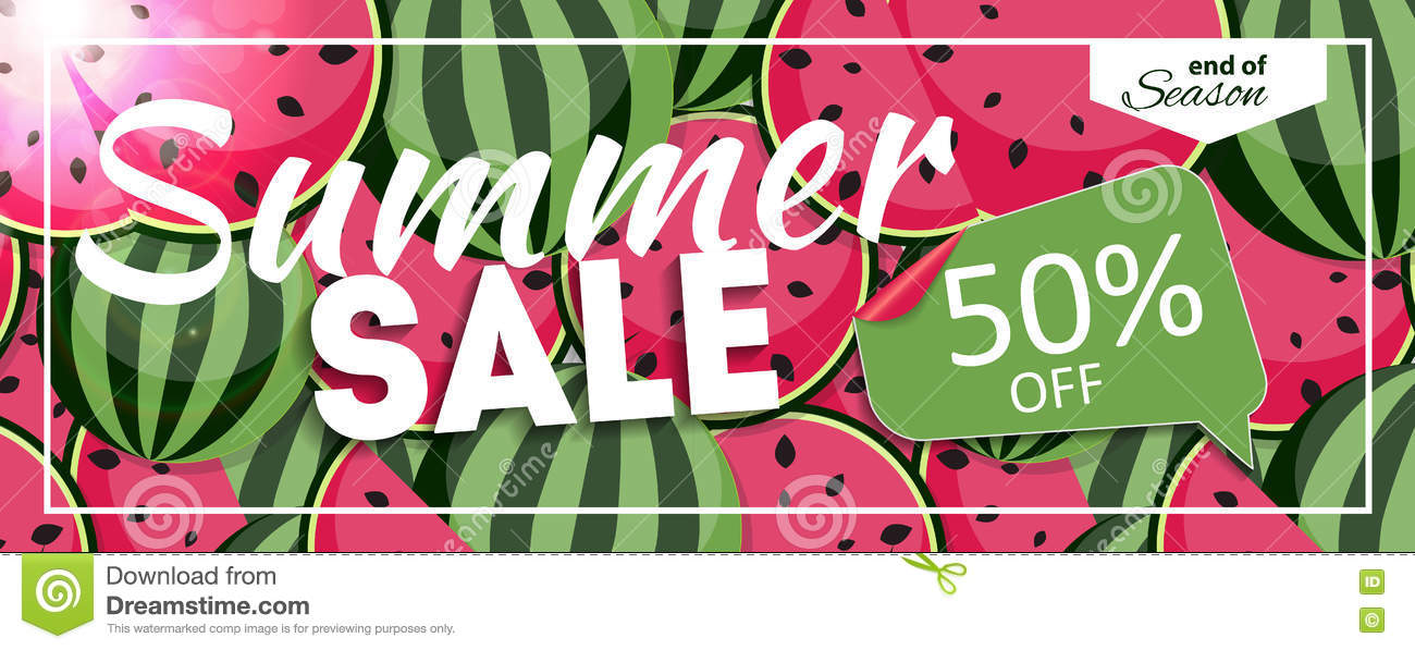 Summer Sale End Of Season Banner. Business Discount Card. Vector ...