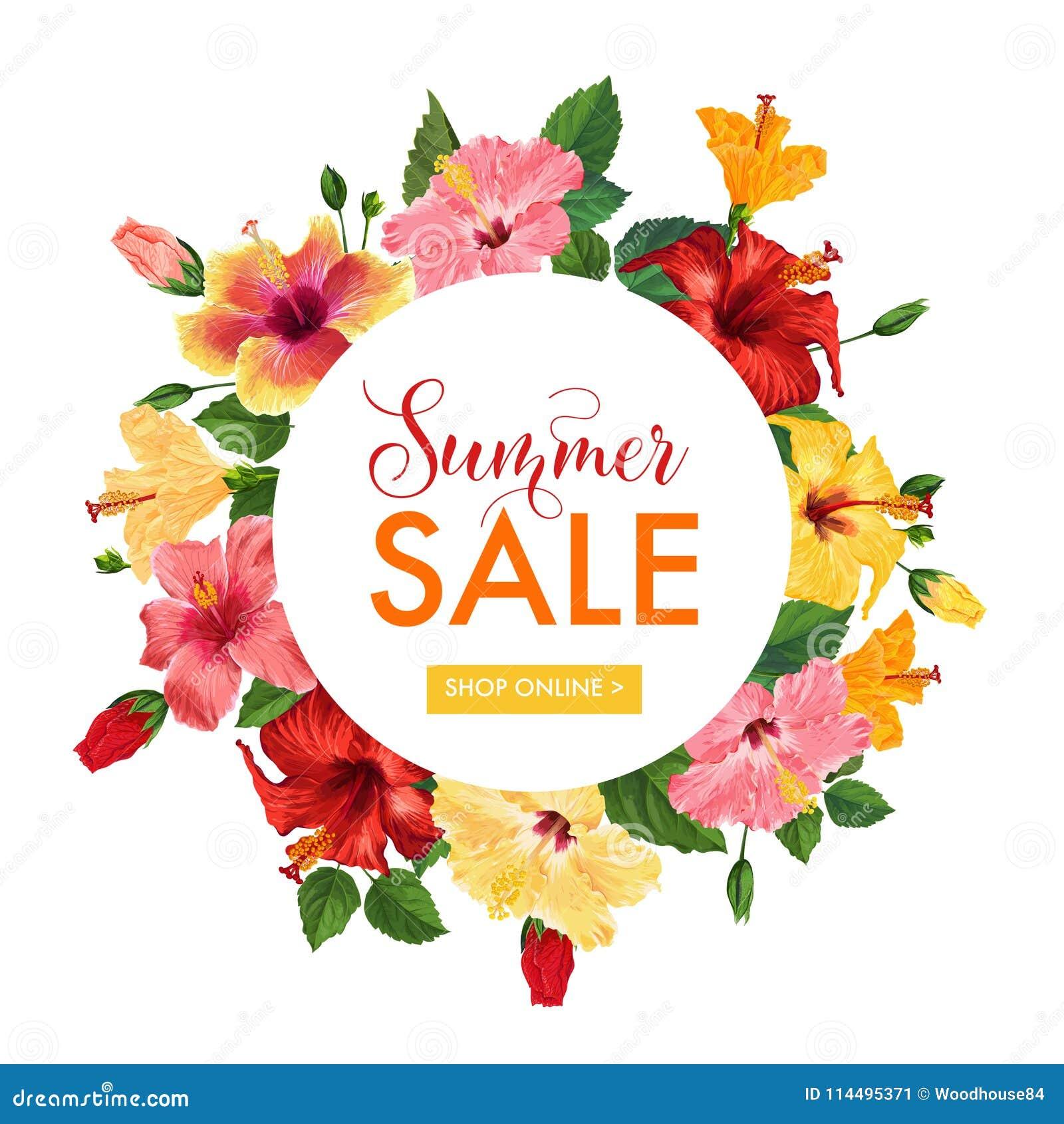 Summer sale floral banner seasonal discount advertising with red summer sale floral banner seasonal discount advertising with red hibiscus flowers tropical paradise promotional izmirmasajfo