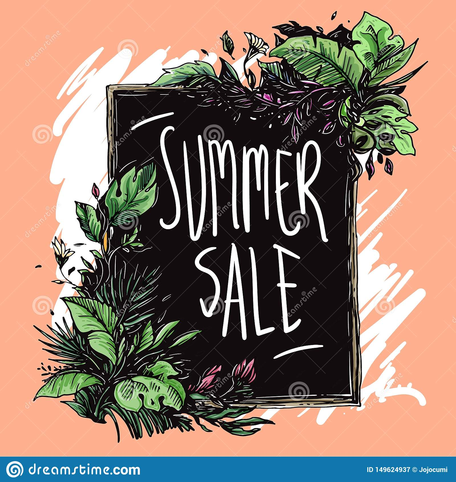 Summer sale floral frame hand drawn