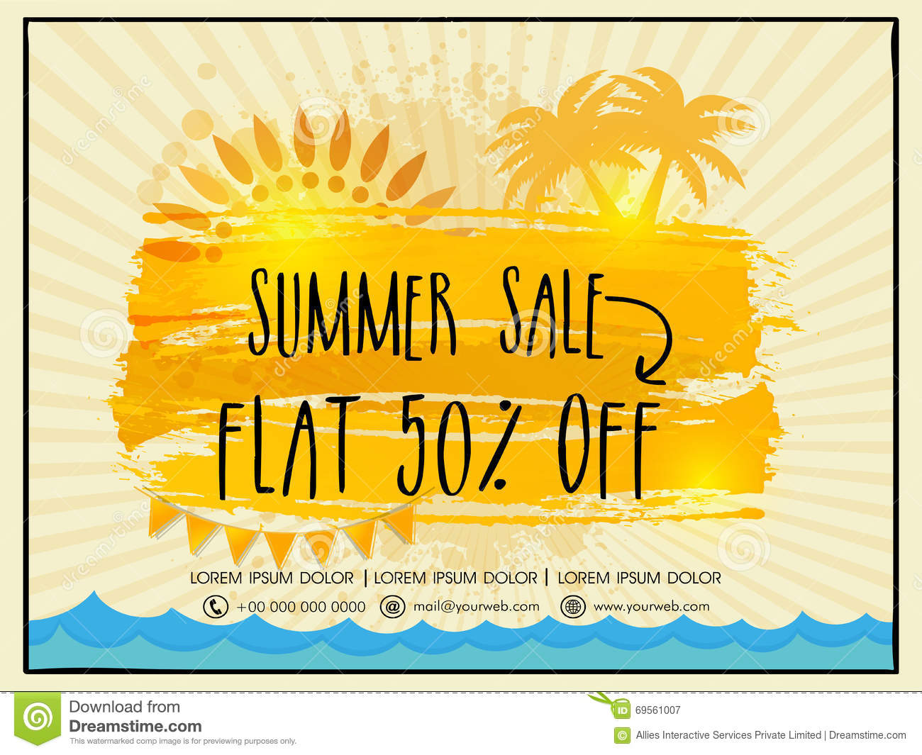 Summer Sale Flyer, Poster Or Banner Design. Stock ...