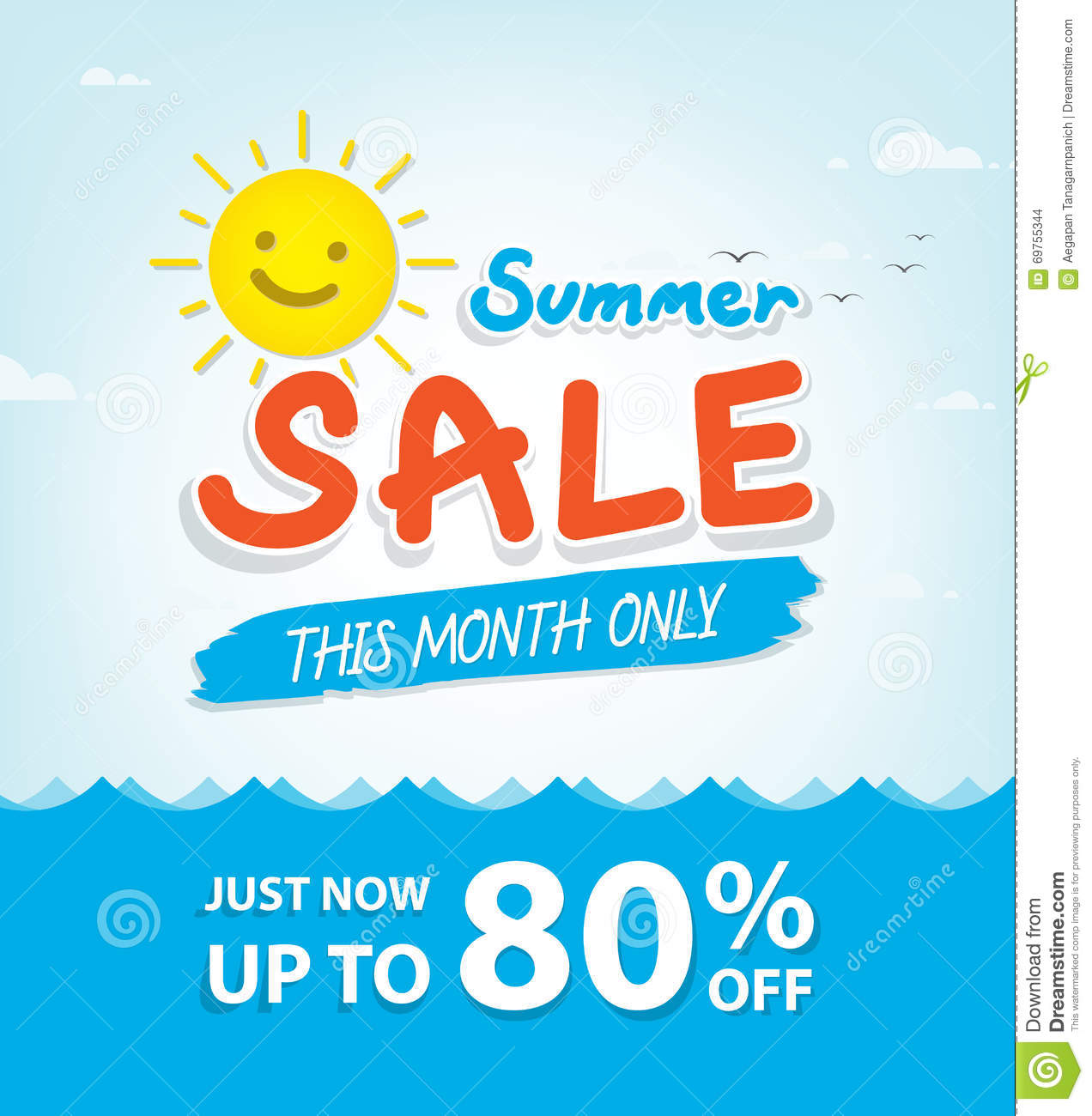 Summer Sale Heading Design For Banner Or Poster. Sale And ...