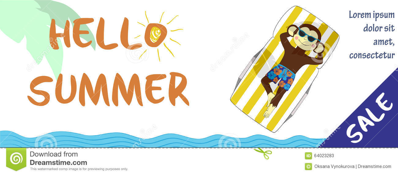 Summer Sale Horizontal Banner With Cute Monkey Stock ...