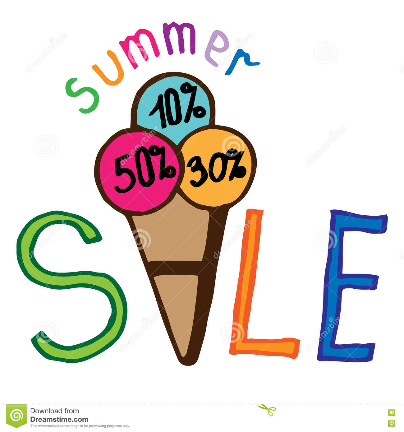 Summer Sale Ice Cream Lettering Stock Vector - Image: 72668838