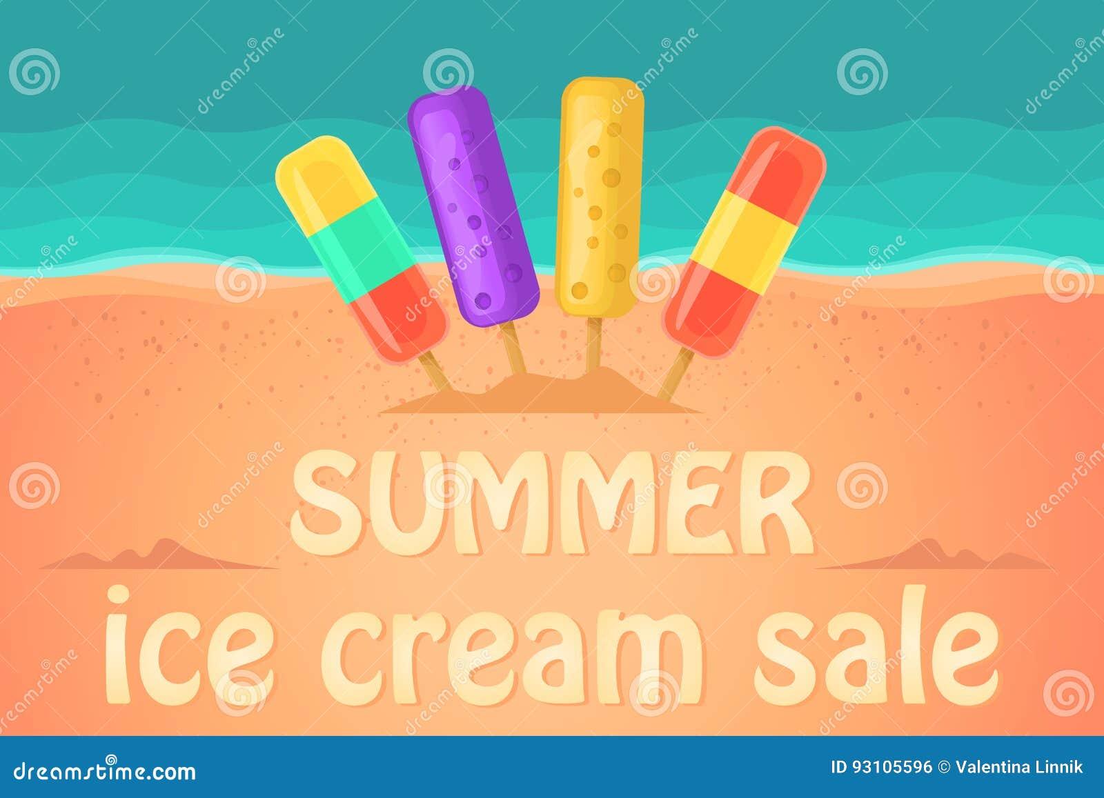 Ice Cream Shop On The Beach Vector Illustration