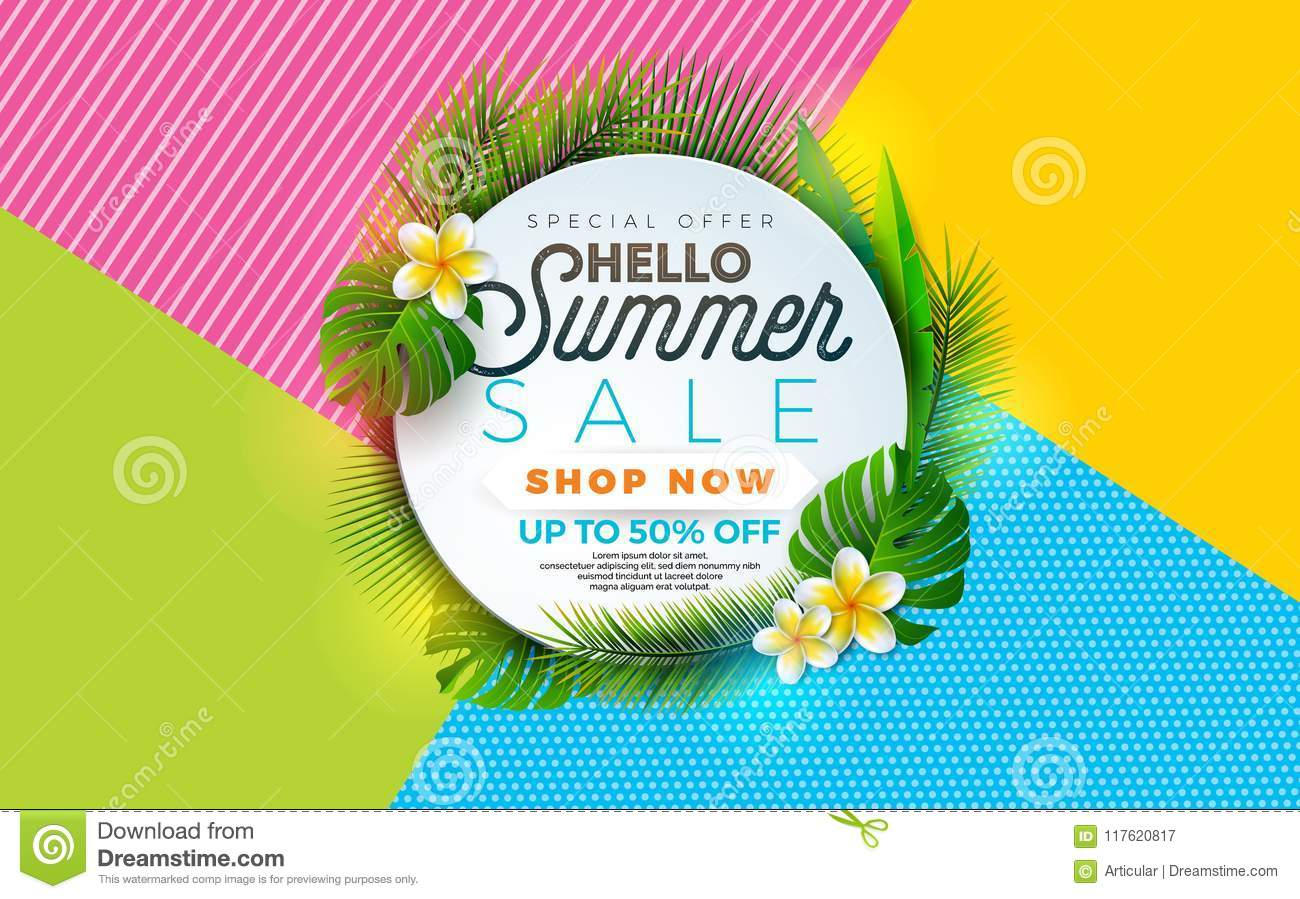 Summer Sale illustration with flower and tropical plant on abstract color background. Vector banner design template for