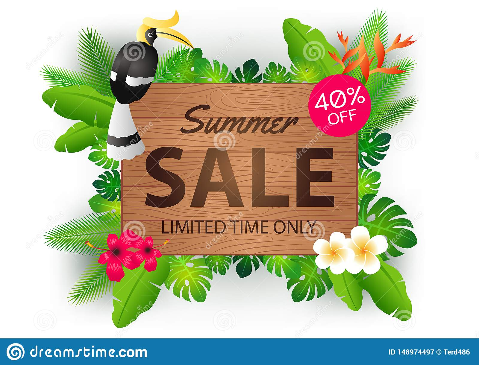 Summer sale offer banner decorative element with its symbol,modern and fashionable design