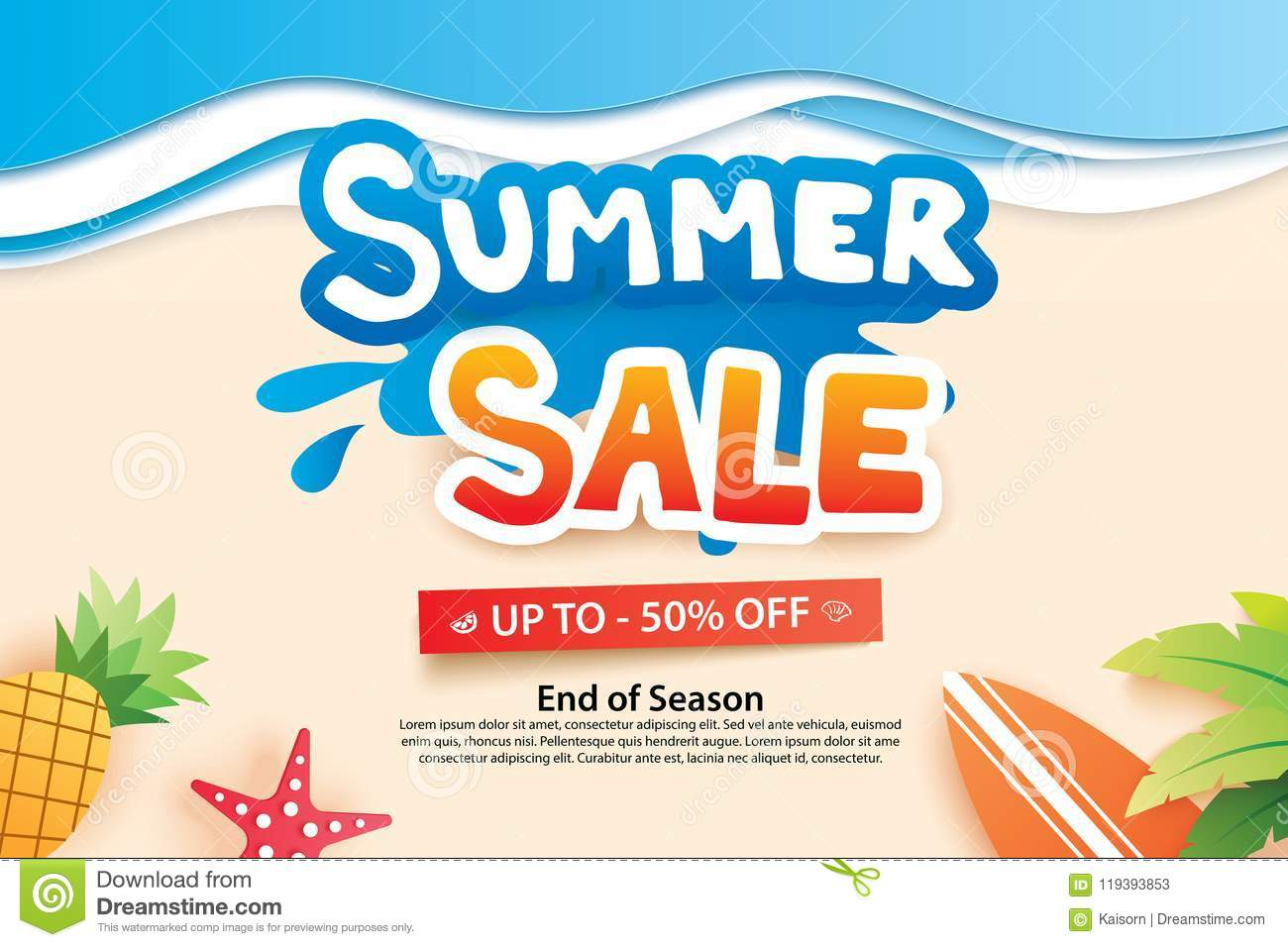 Summer Sale With Paper Cut Symbol And Icon For Advertising Beach