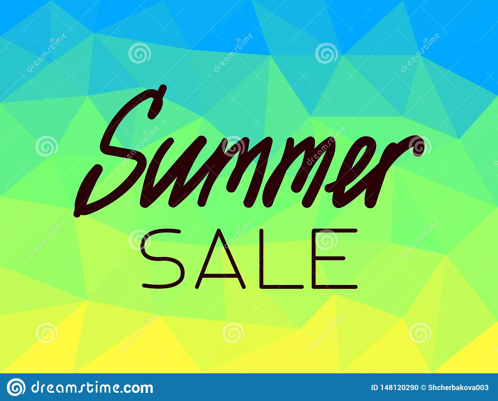 Summer sale on polygonal background blue, yellow, green