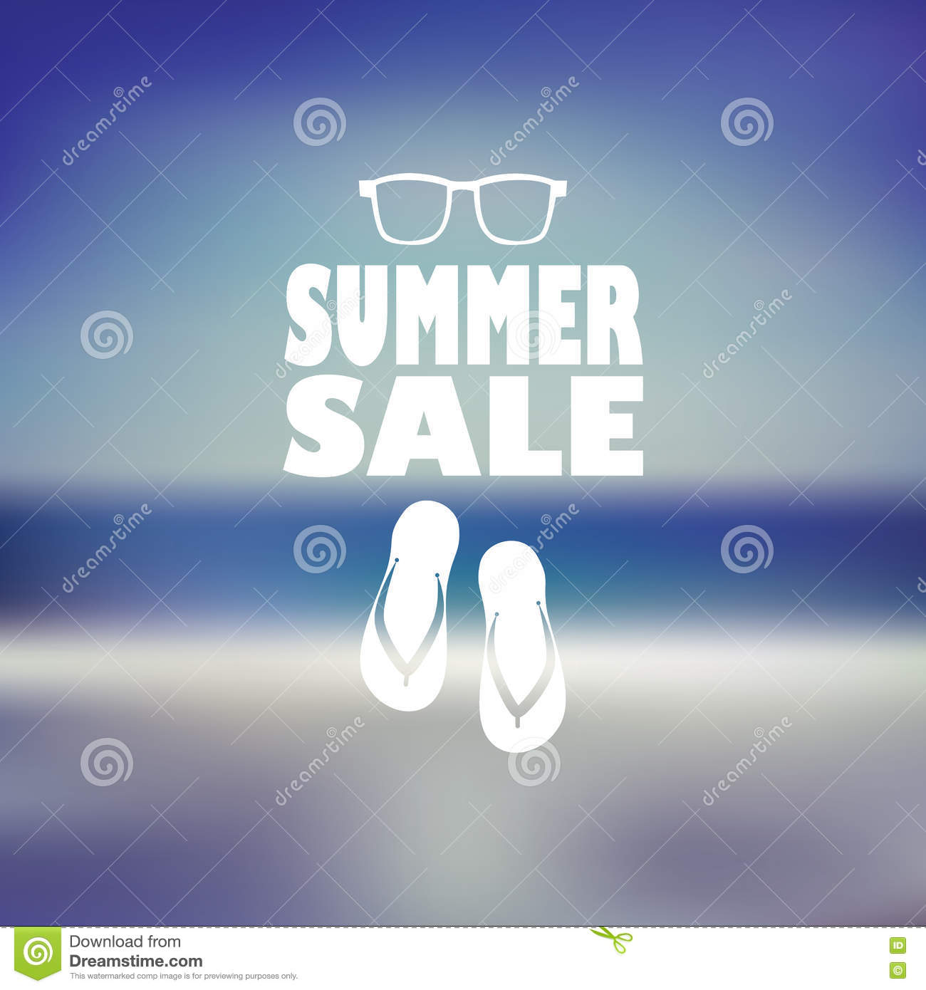 summer sale poster with flip flops and sunglasses beach blurred