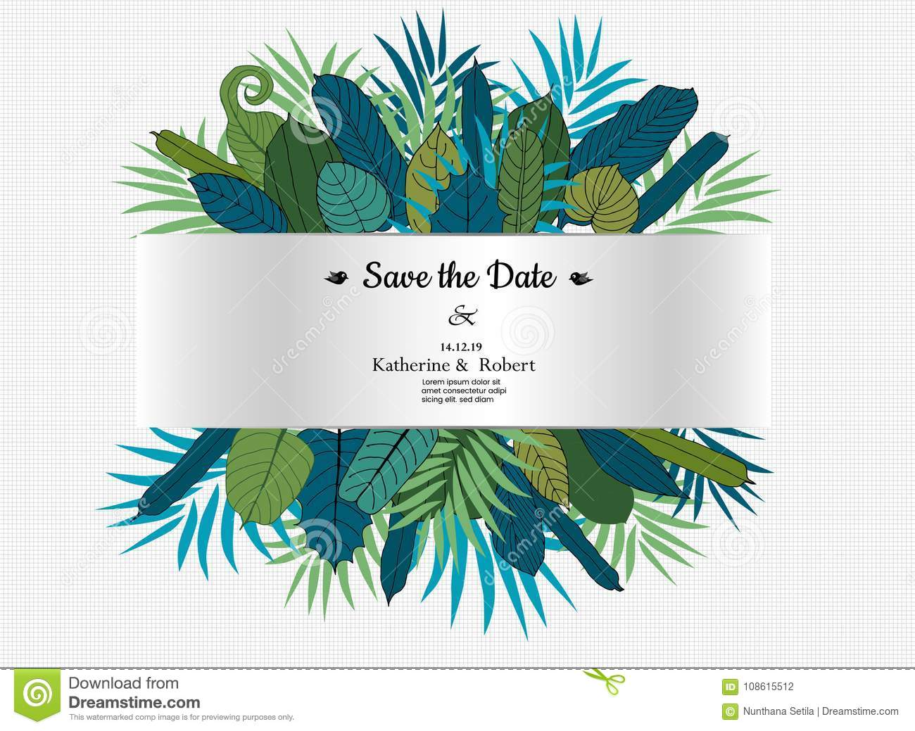 Wedding Floral Card,wedding Invitation With Green Floral Leaves ...