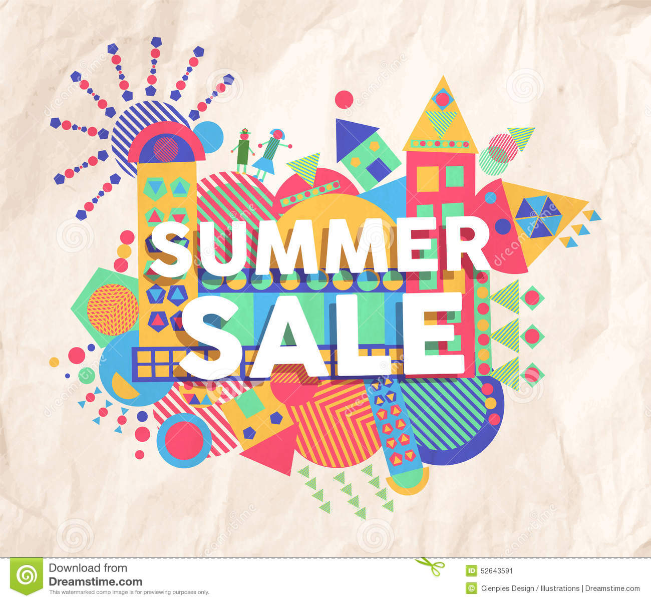 Quote poster design inspiration - Summer Sale Quote Poster Design Stock Image