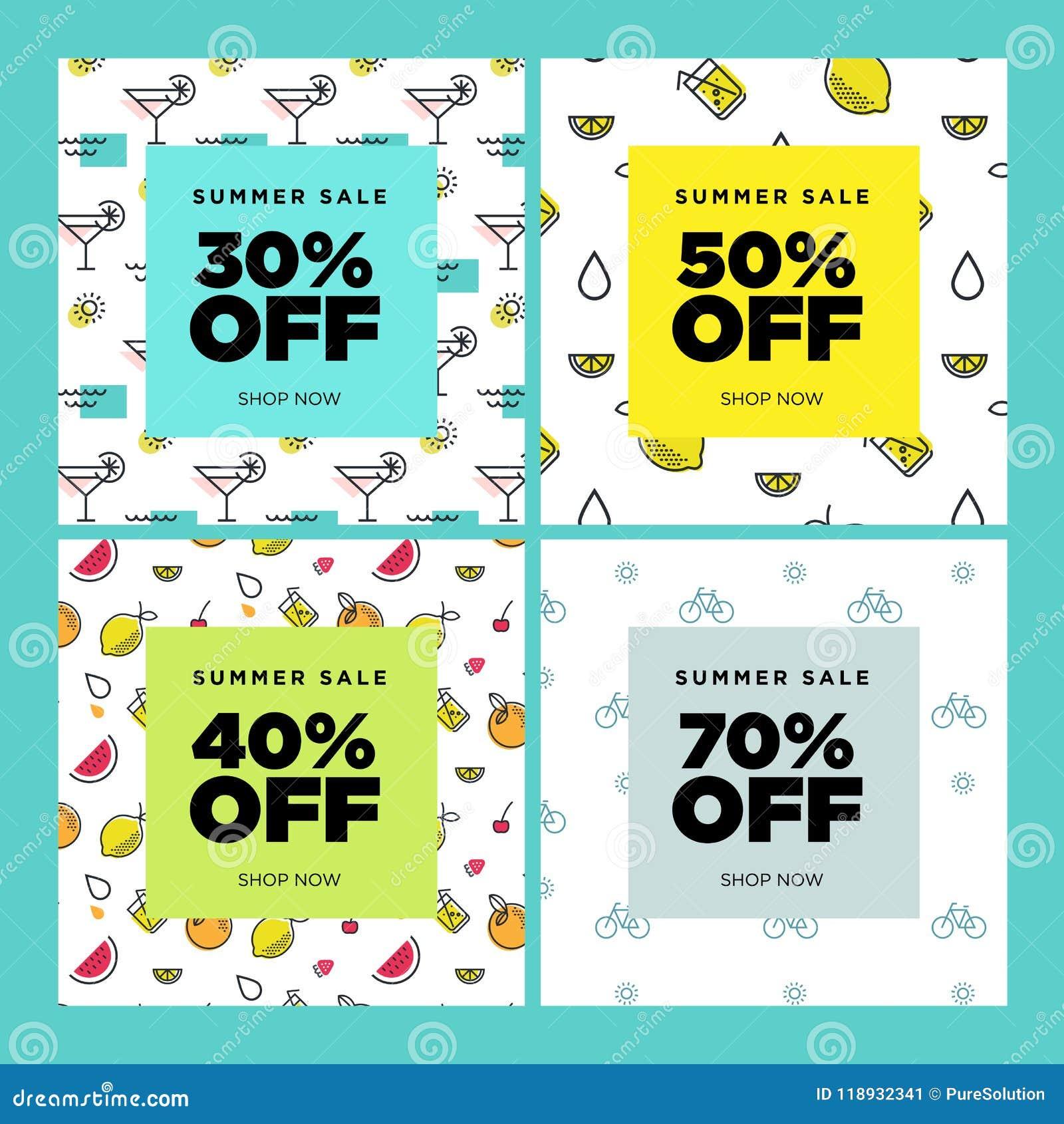 summer sale set of website sale banner templates stock vector