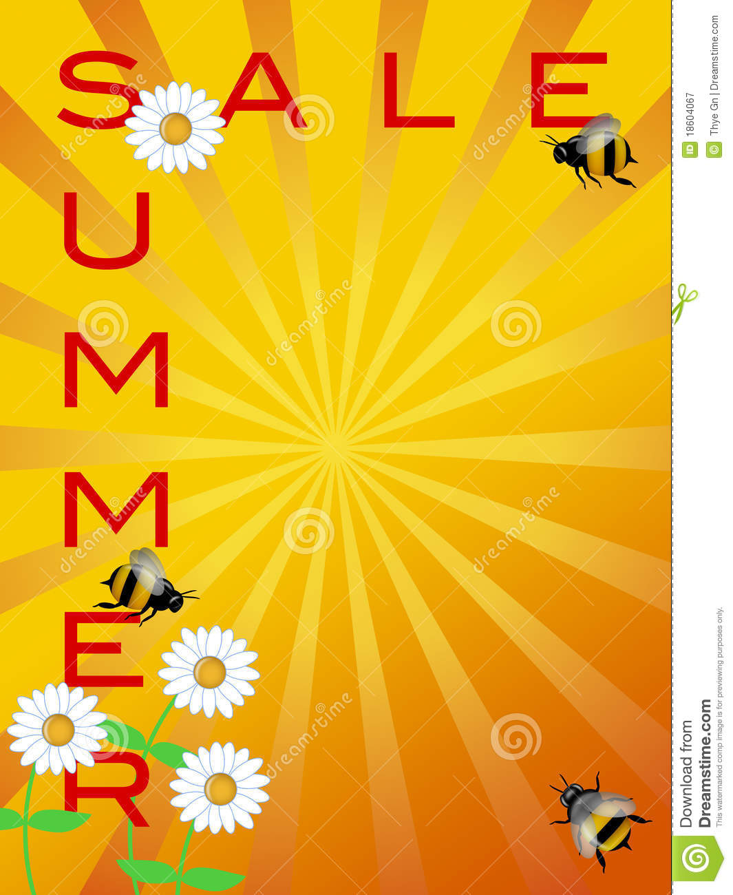 summer sale sign daisies flowers and bumble bees stock illustration