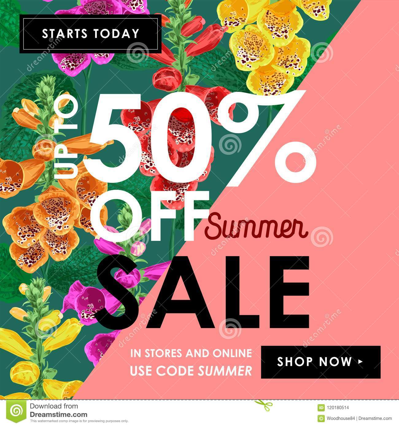 Summer sale tropical banner seasonal promotion with tiger lily seasonal promotion with tiger lily flowers and leaves floral discount izmirmasajfo