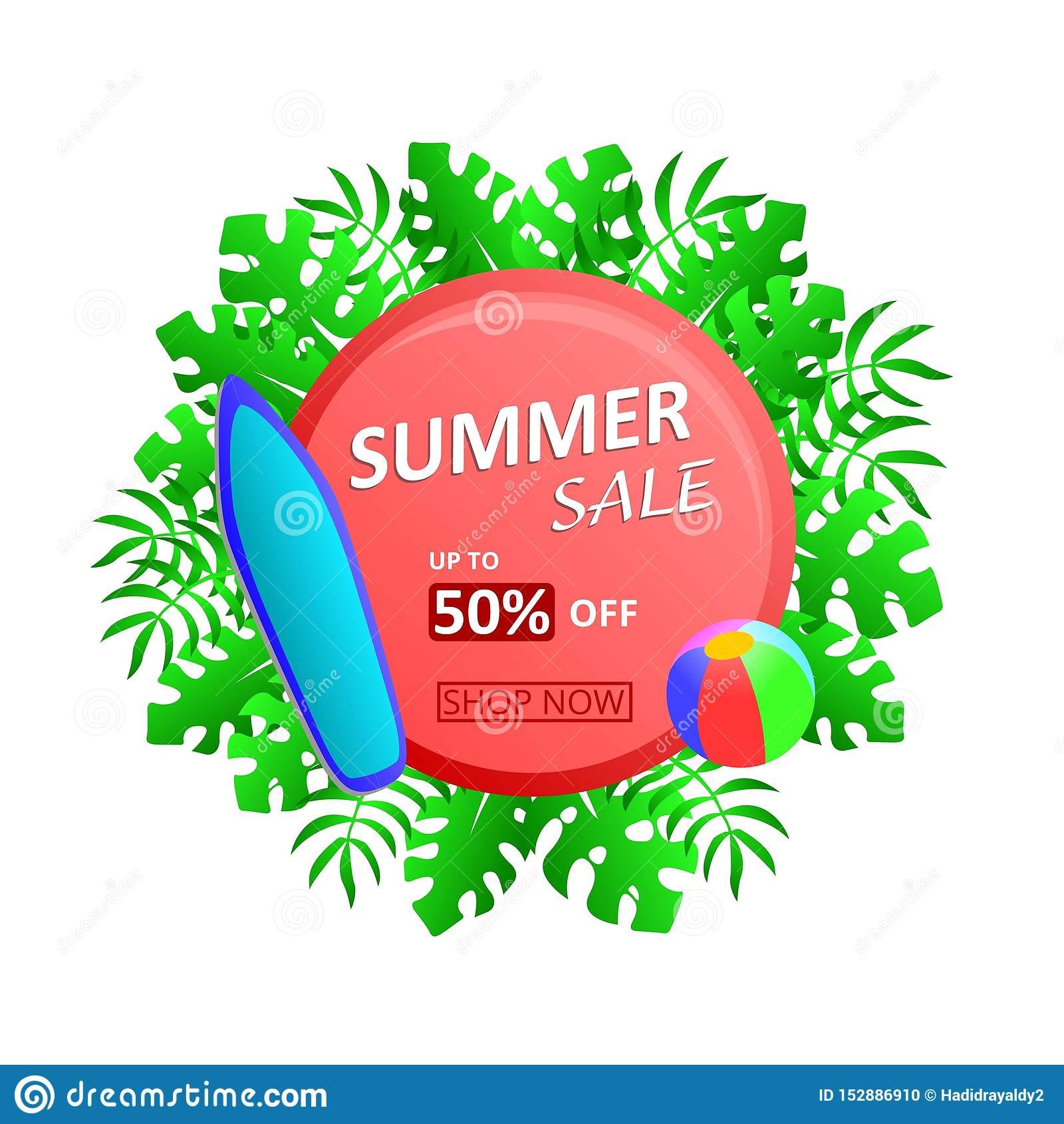 Summer Sale Up To 50  Off Discount with tropical leaves, surfboard and beach ball.