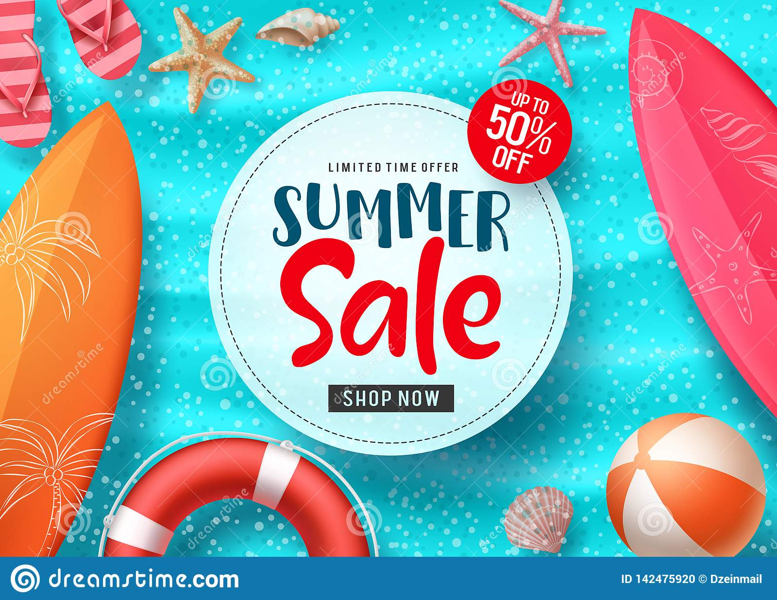 Summer sale vector banner design with colorful beach elements and sale text in white space and blue beach background