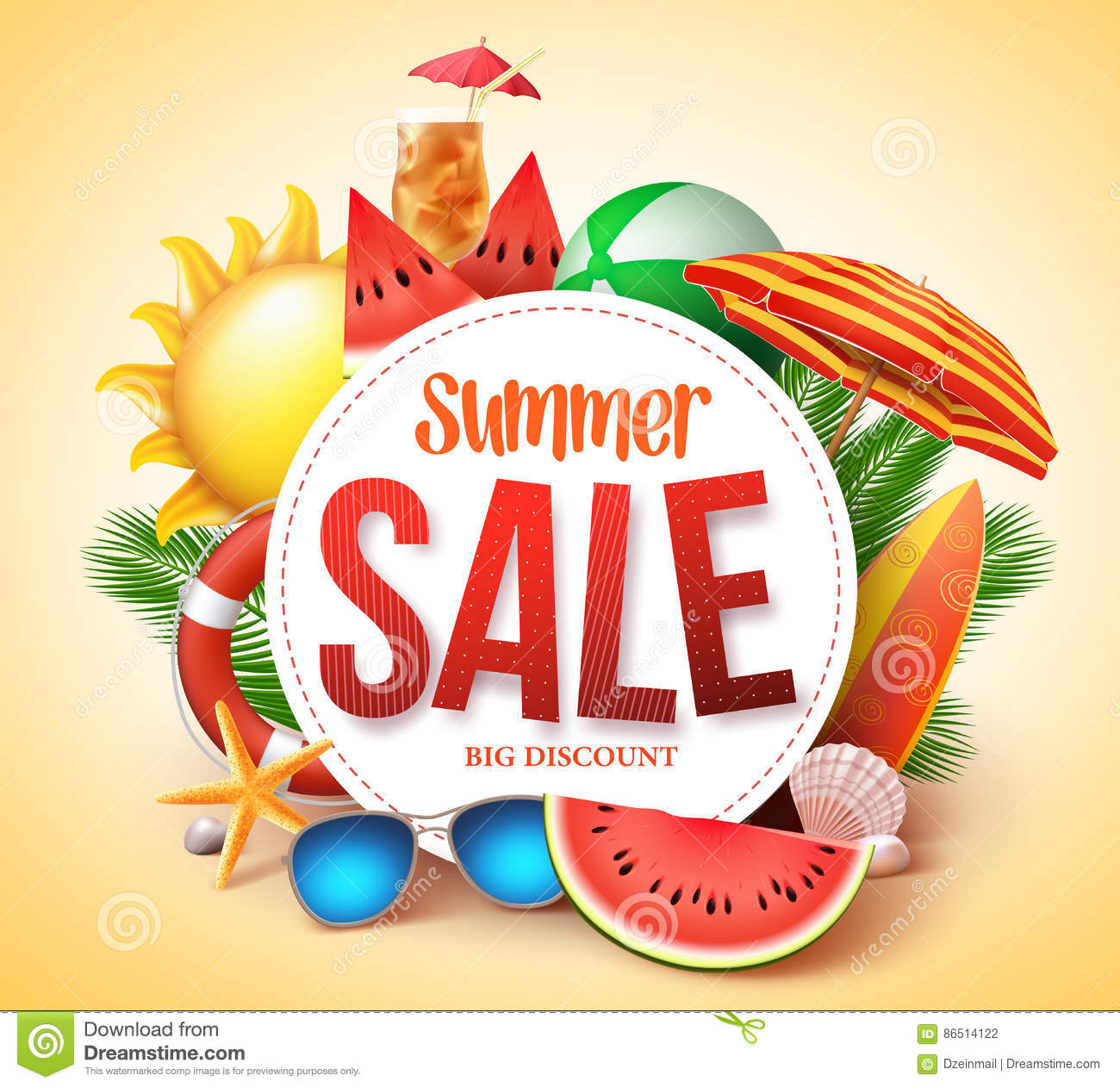 Summer sale vector banner design for promotion with colorful beach elements