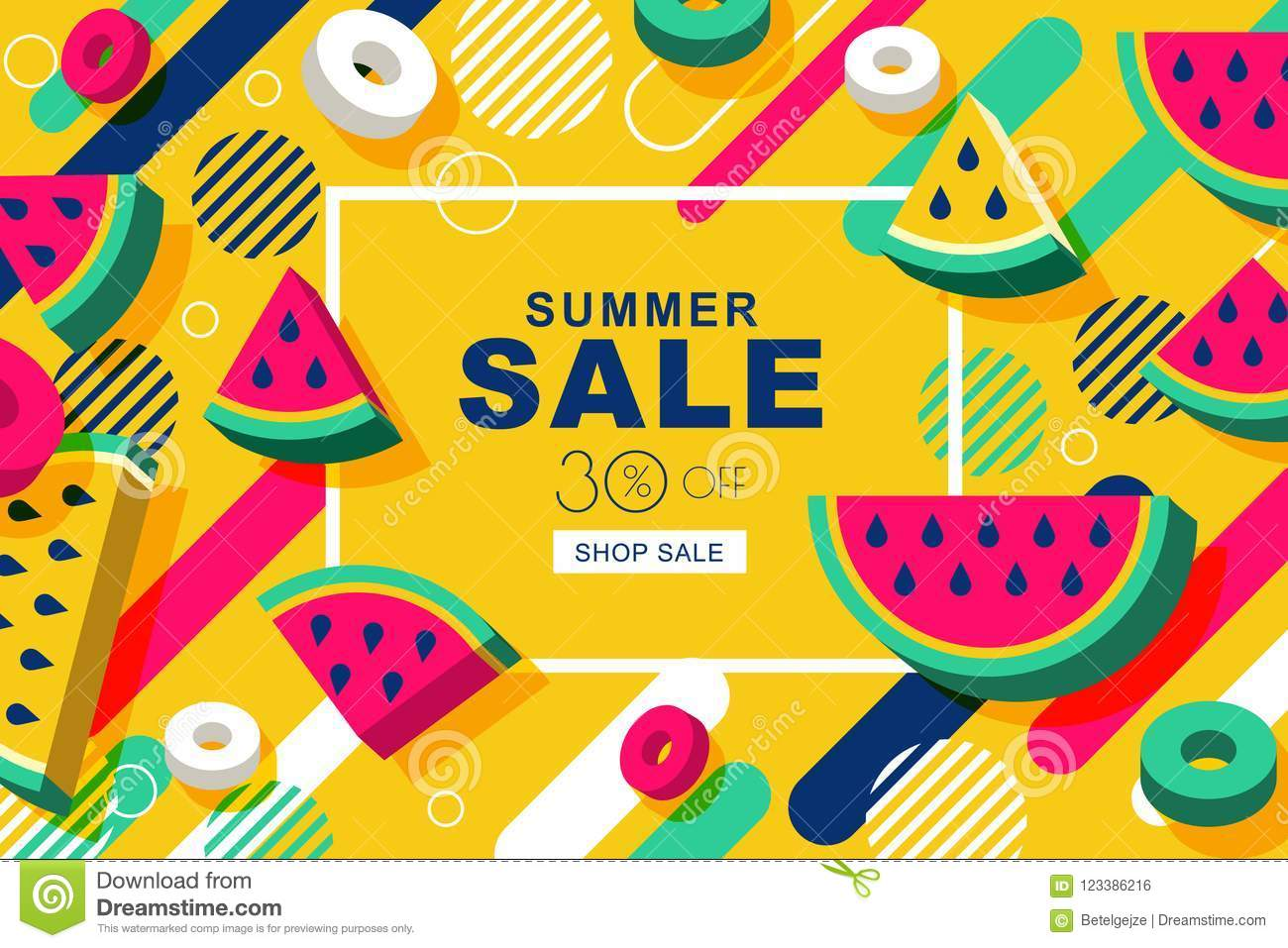 Summer Sale Vector Banners With 3d Style Watermelon And
