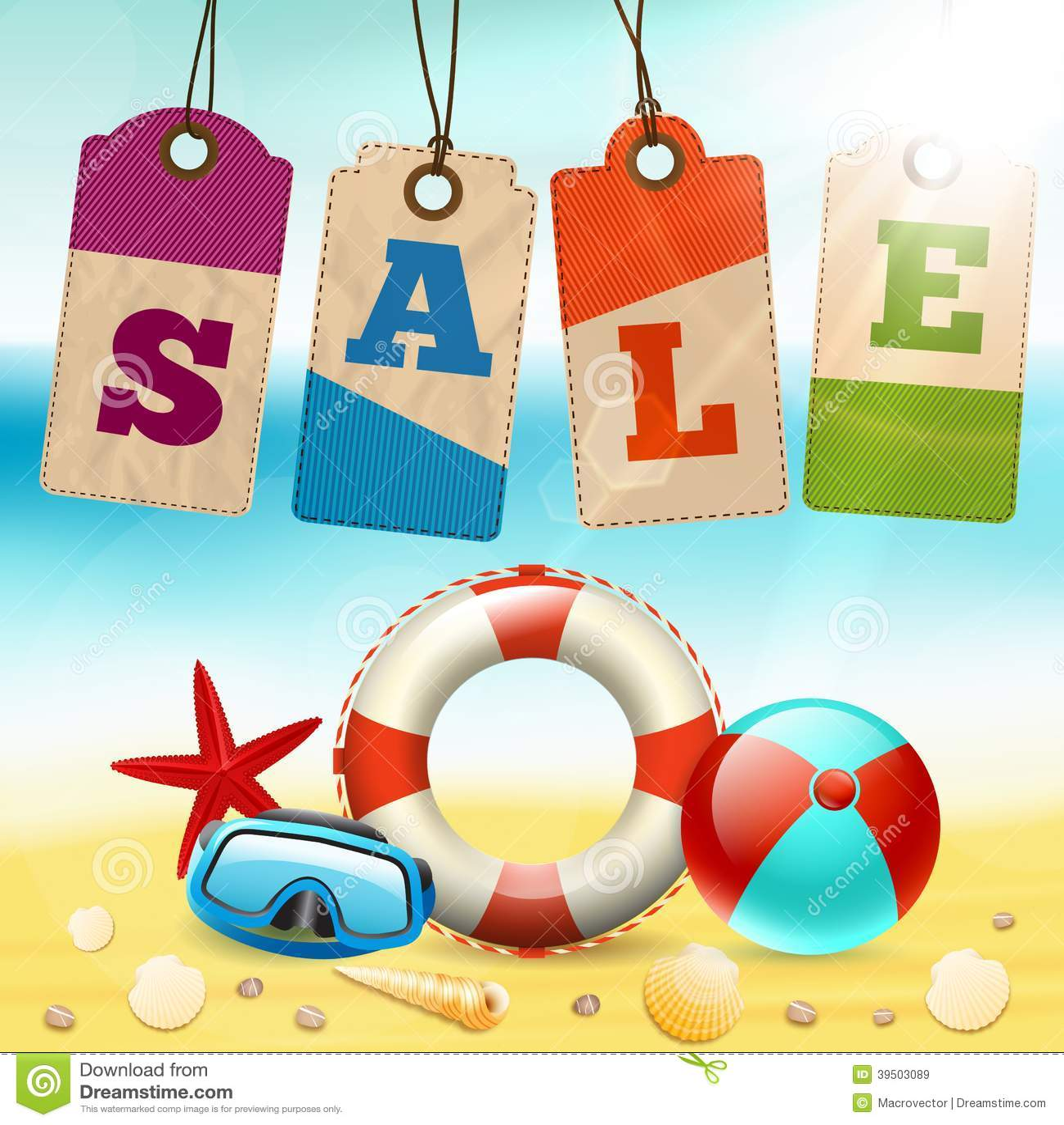 Summer holidays life saver ball sea shells with cardboard sale tags ...