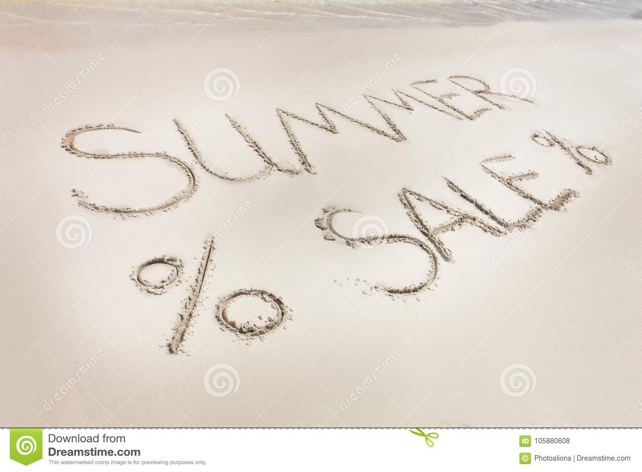 Download The Summer Sale Word Written On The Beach Sand. Stock Photo - Image of sandy, resort: 105880608
