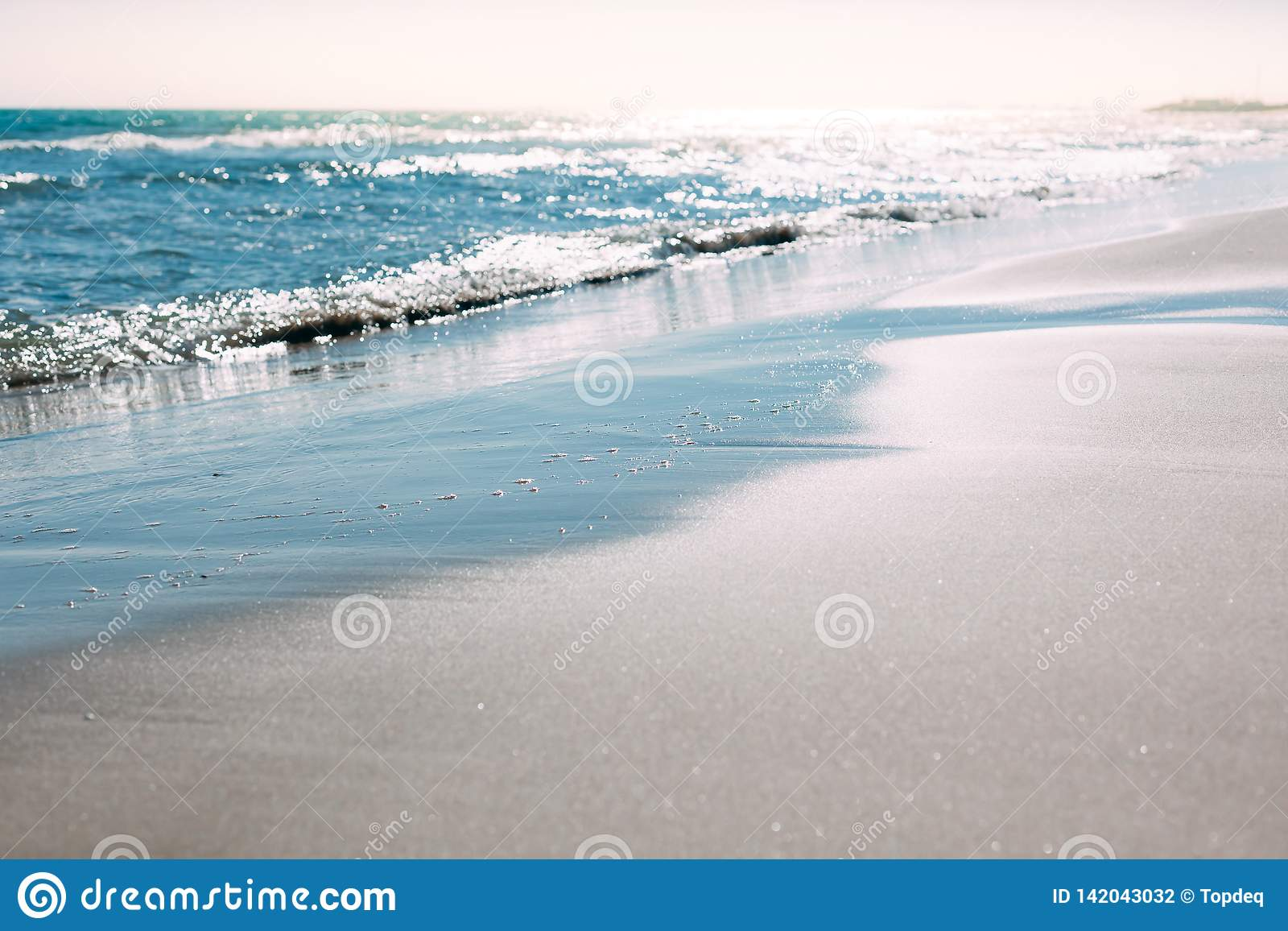 Summer Sand Beach And Seashore Waves Background Stock Photo Image