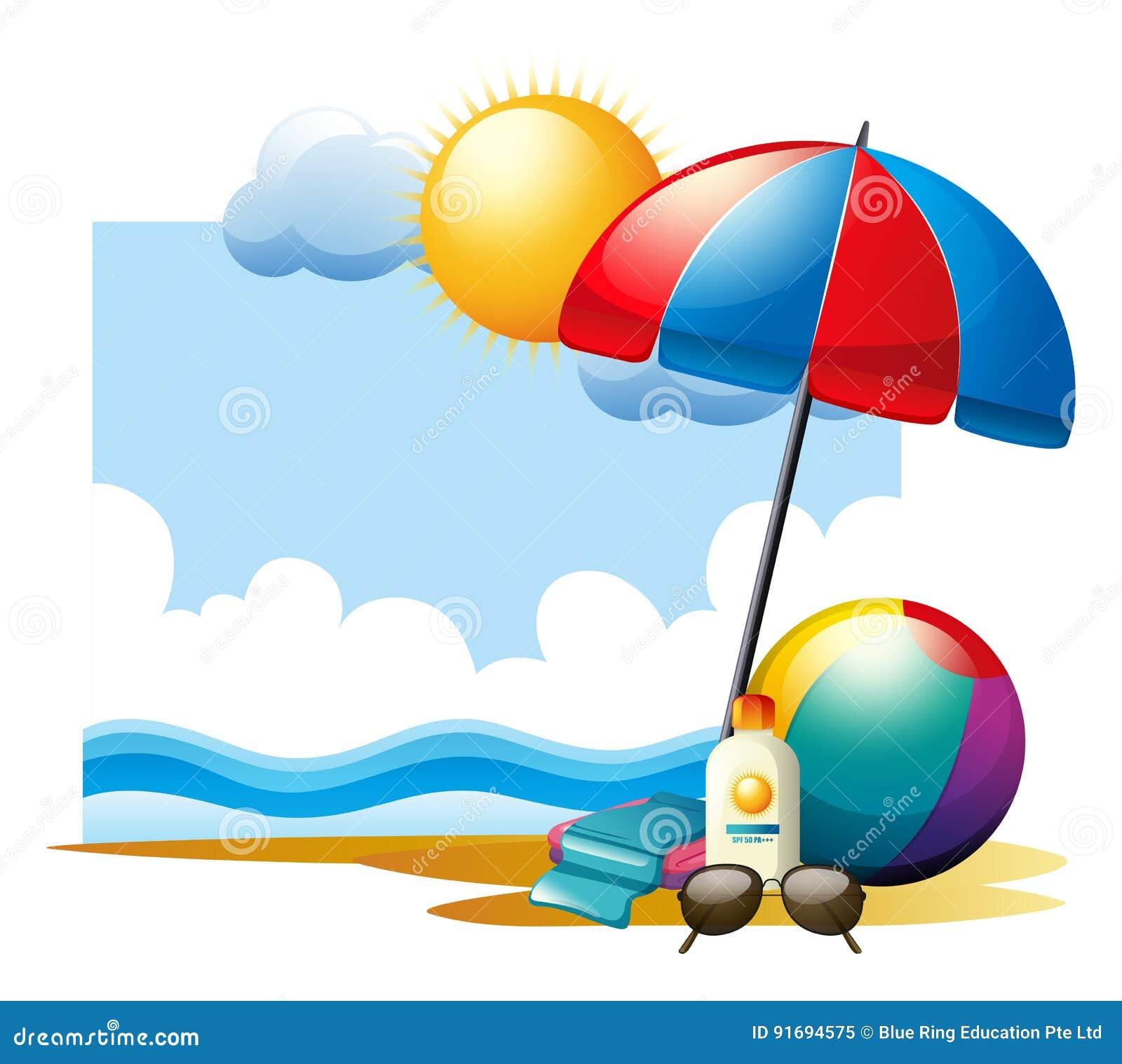 Summer Scene With Ball And Umbrella On Beach Stock Vector